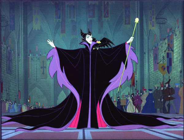 Still image of Maleficent at Stefan's court from the 1959 film Sleeping Beauty.