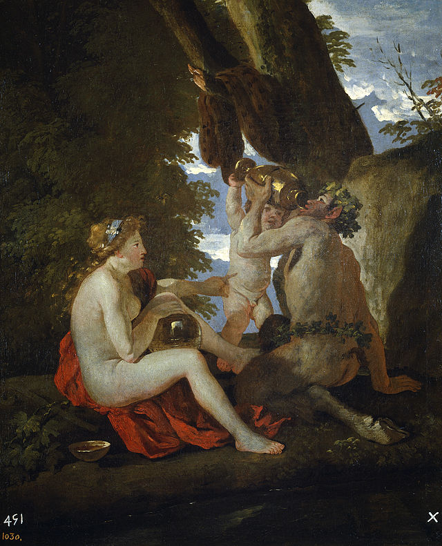 Nymph and Satyr Drinking - Nicholas Poussin c1626-26